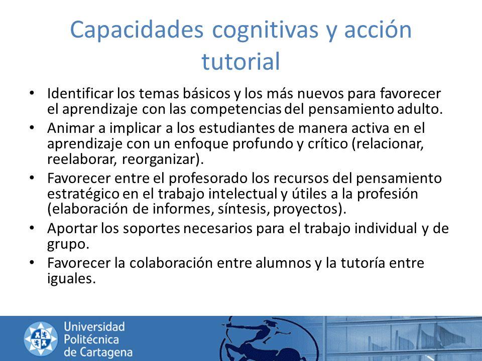 Capacidades cognitivas y acción tutorial Identificar los temas básicos y los más nuevos para favorecer el aprendizaje con las competencias del pensami