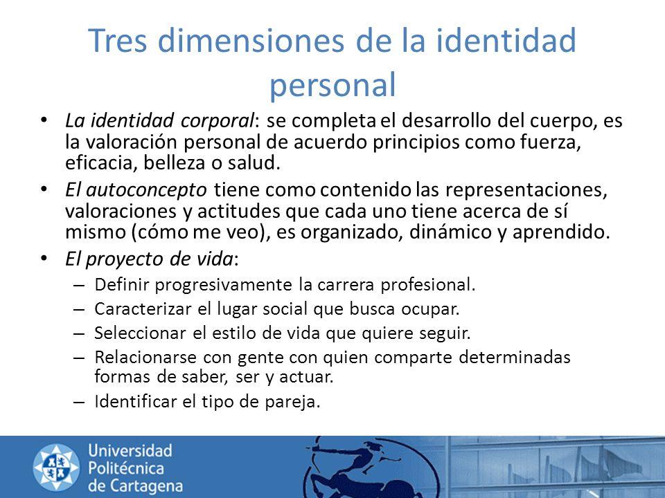 Tres dimensiones de la identidad personal La identidad corporal: se completa el desarrollo del cuerpo, es la valoración personal de acuerdo principios