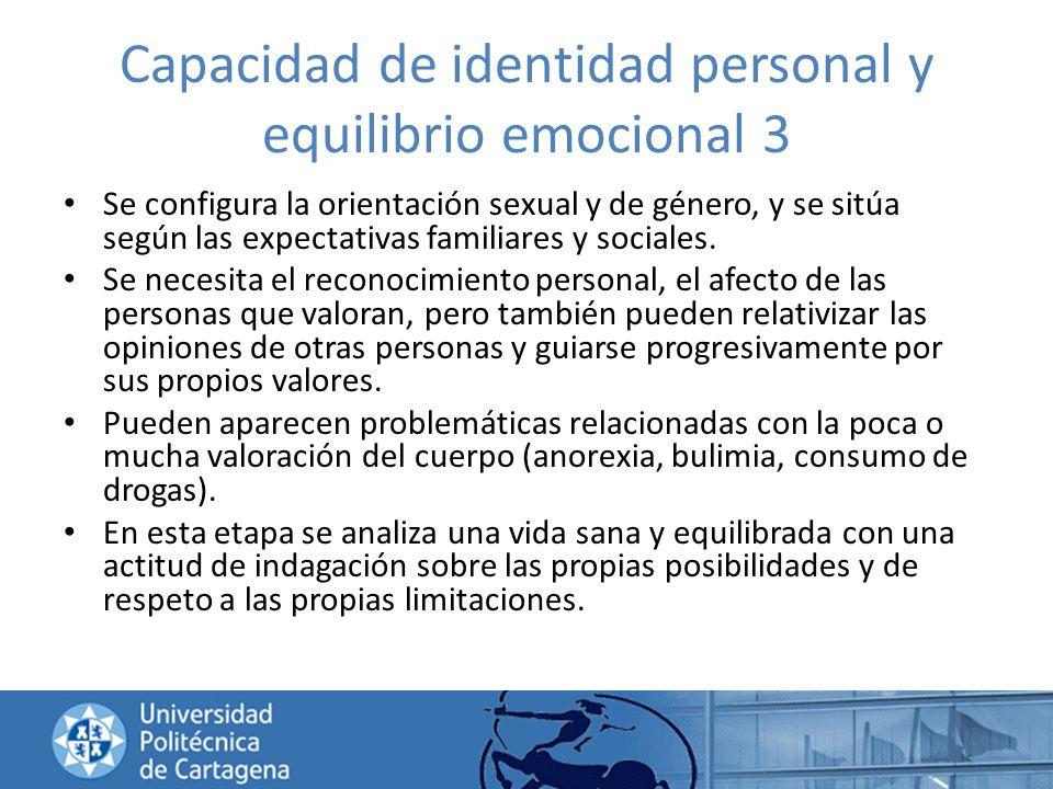 Capacidad de identidad personal y equilibrio emocional 3 Se configura la orientación sexual y de género, y se sitúa según las expectativas familiares