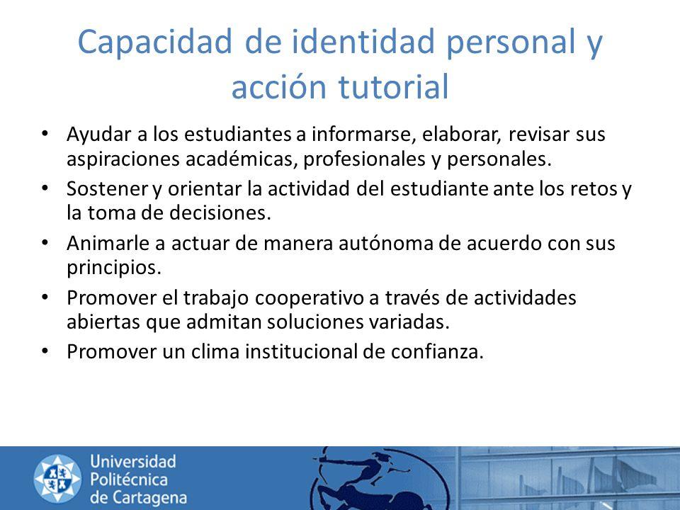 Capacidad de identidad personal y acción tutorial Ayudar a los estudiantes a informarse, elaborar, revisar sus aspiraciones académicas, profesionales