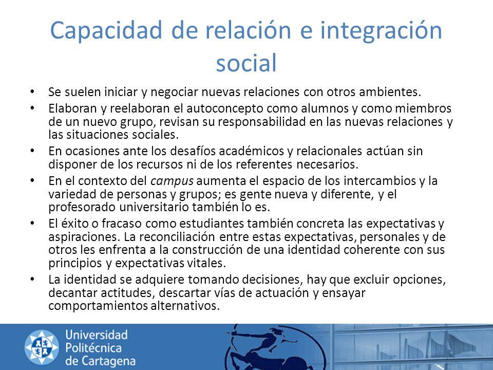 Capacidad de relación e integración social Se suelen iniciar y negociar nuevas relaciones con otros ambientes. Elaboran y reelaboran el autoconcepto c
