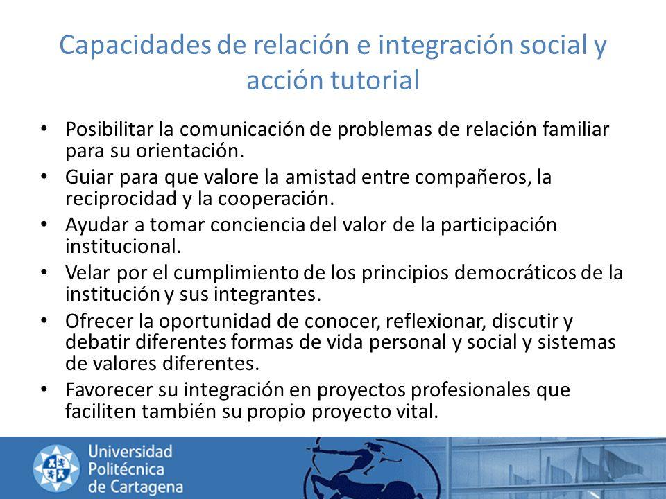Capacidades de relación e integración social y acción tutorial Posibilitar la comunicación de problemas de relación familiar para su orientación. Guia