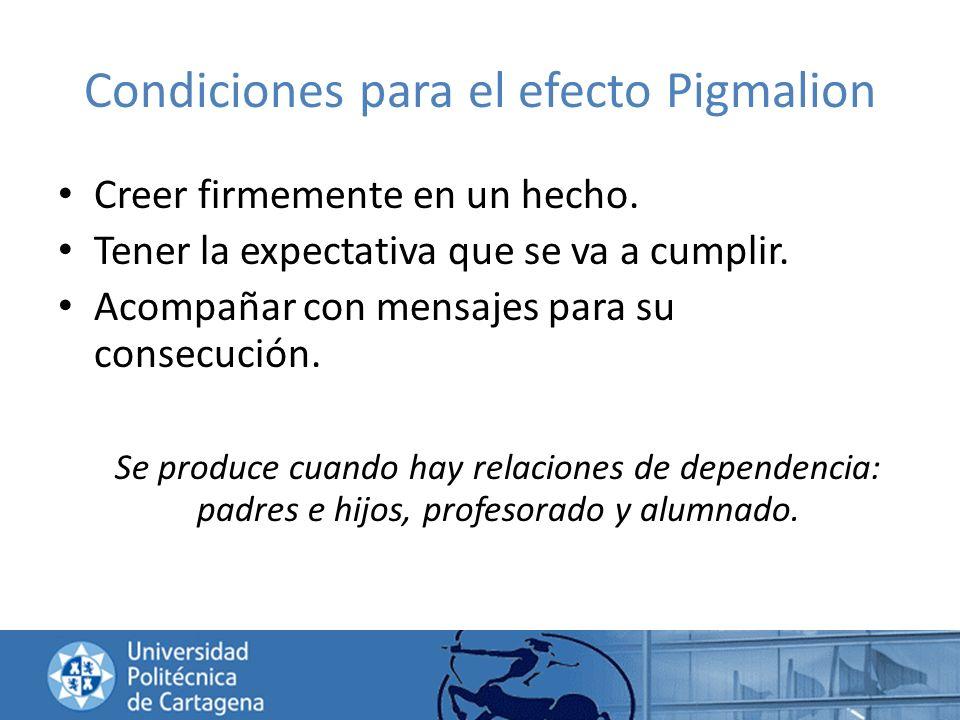 Condiciones para el efecto Pigmalion Creer firmemente en un hecho. Tener la expectativa que se va a cumplir. Acompañar con mensajes para su consecució