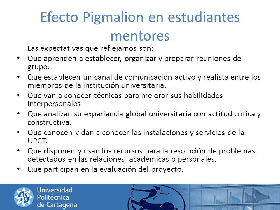 Efecto Pigmalion en estudiantes mentores Las expectativas que reflejamos son: Que aprenden a establecer, organizar y preparar reuniones de grupo. Que