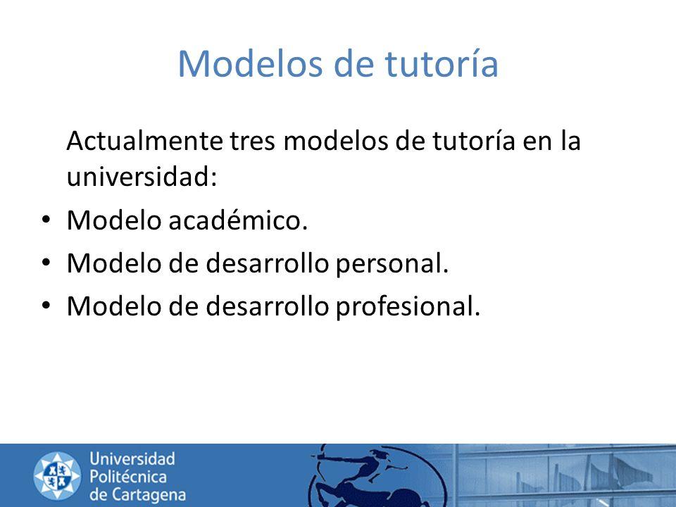 Modelos de tutoría Actualmente tres modelos de tutoría en la universidad: Modelo académico. Modelo de desarrollo personal. Modelo de desarrollo profes