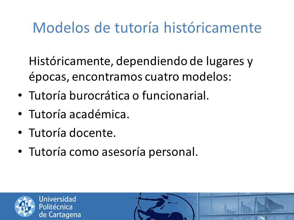Modelos de tutoría históricamente Históricamente, dependiendo de lugares y épocas, encontramos cuatro modelos: Tutoría burocrática o funcionarial. Tut