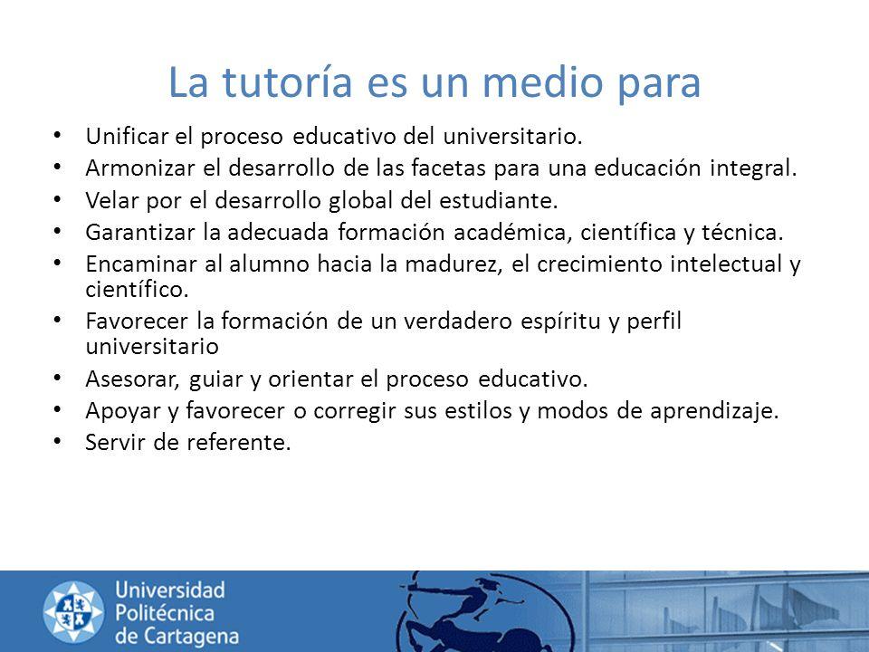 La tutoría es un medio para Unificar el proceso educativo del universitario. Armonizar el desarrollo de las facetas para una educación integral. Velar