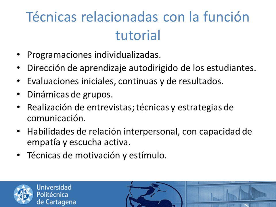 Técnicas relacionadas con la función tutorial Programaciones individualizadas. Dirección de aprendizaje autodirigido de los estudiantes. Evaluaciones