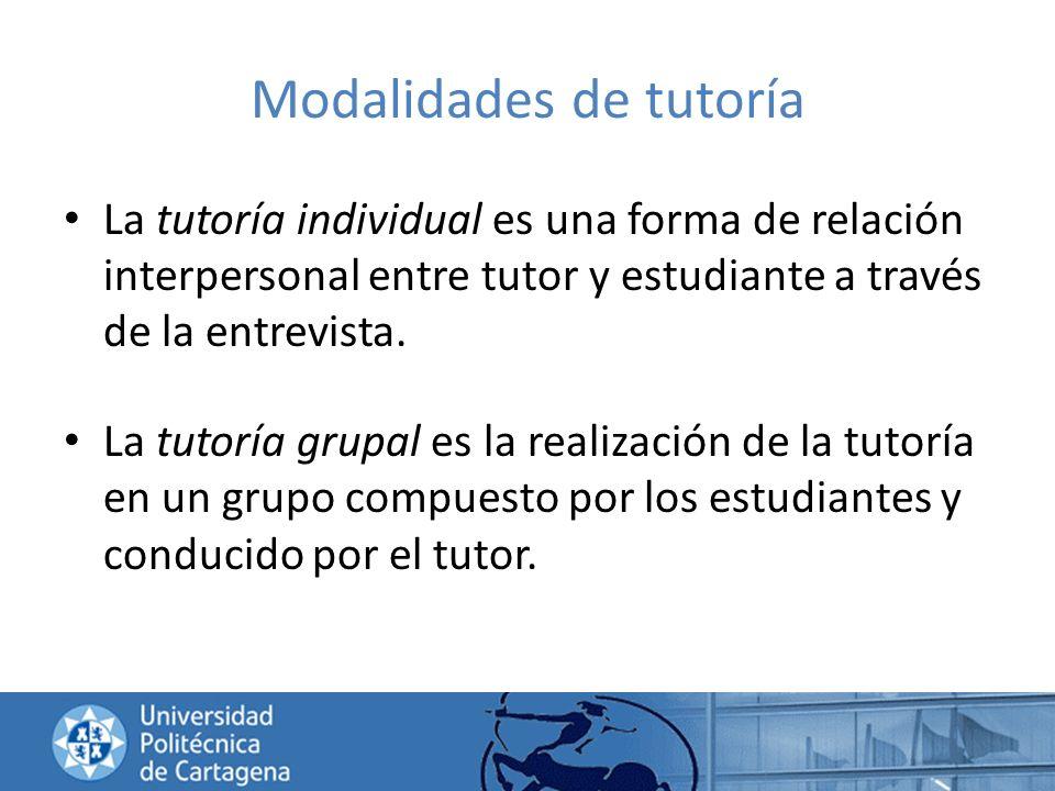 Modalidades de tutoría La tutoría individual es una forma de relación interpersonal entre tutor y estudiante a través de la entrevista. La tutoría gru