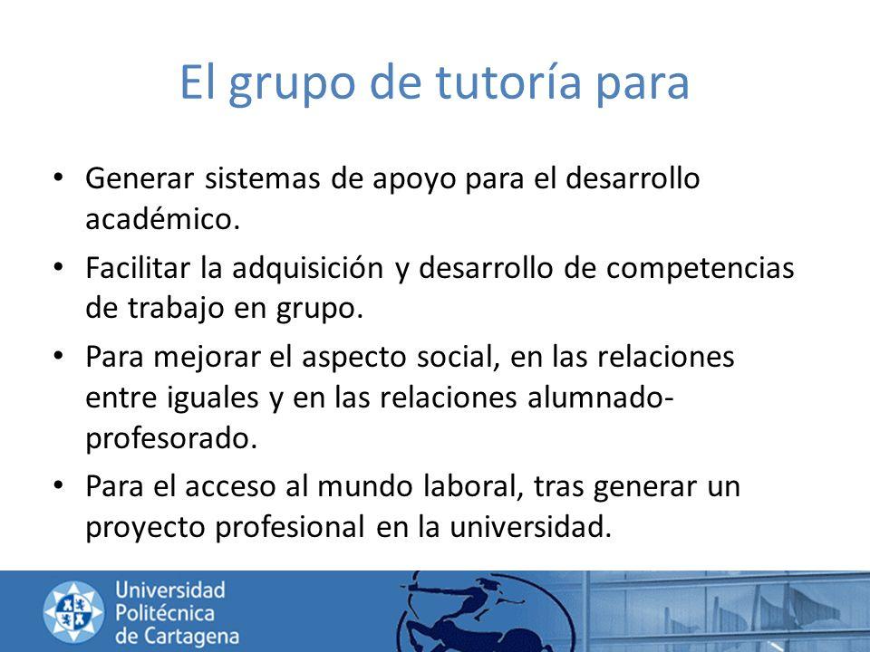 El grupo de tutoría para Generar sistemas de apoyo para el desarrollo académico. Facilitar la adquisición y desarrollo de competencias de trabajo en g