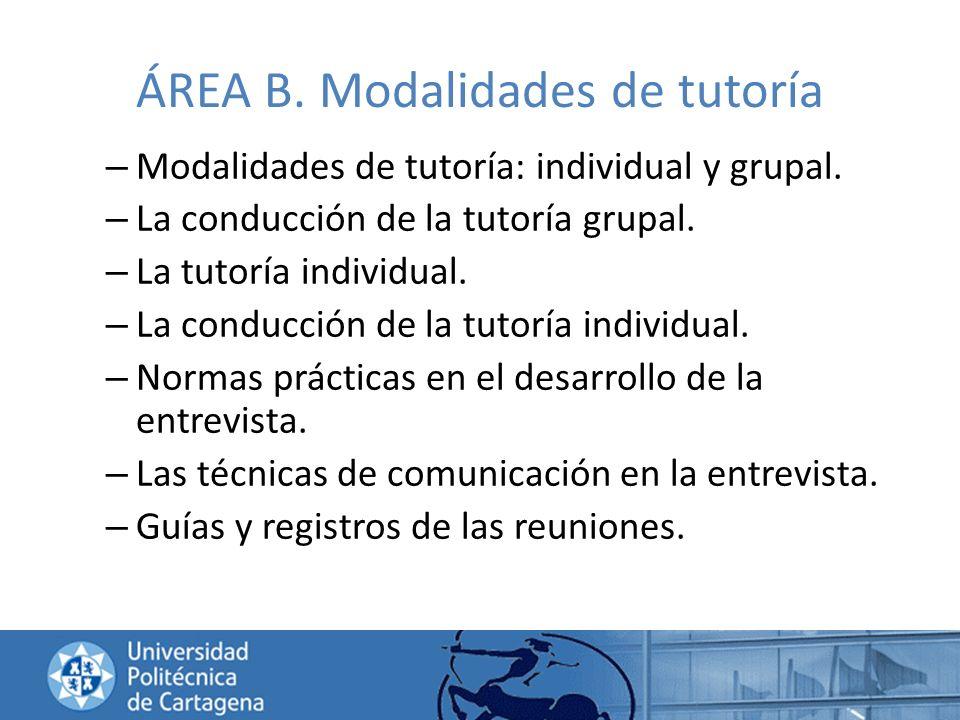 ÁREA B. Modalidades de tutoría – Modalidades de tutoría: individual y grupal. – La conducción de la tutoría grupal. – La tutoría individual. – La cond