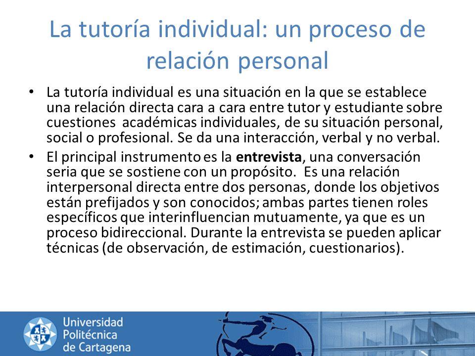 La tutoría individual: un proceso de relación personal La tutoría individual es una situación en la que se establece una relación directa cara a cara