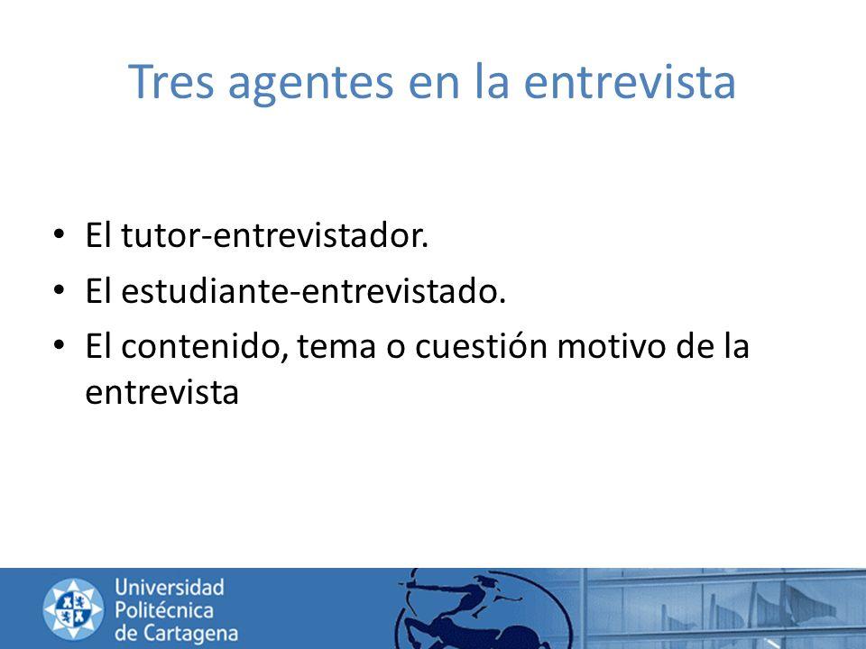 Tres agentes en la entrevista El tutor-entrevistador. El estudiante-entrevistado. El contenido, tema o cuestión motivo de la entrevista