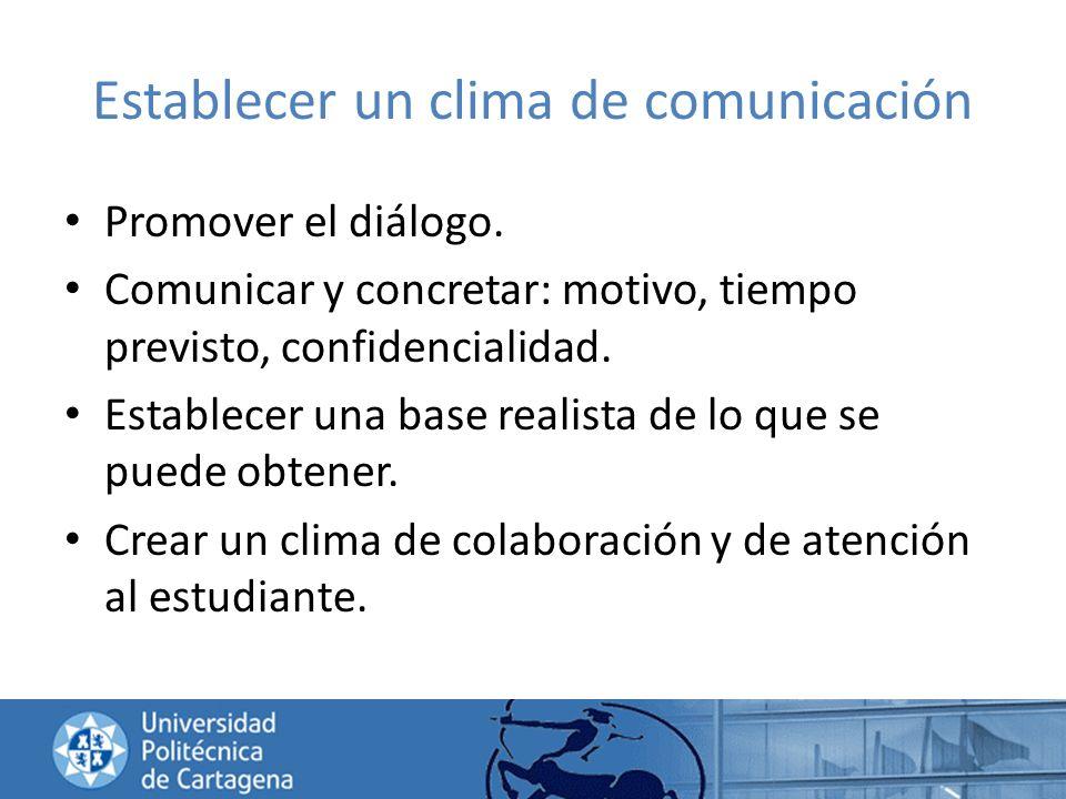 Establecer un clima de comunicación Promover el diálogo. Comunicar y concretar: motivo, tiempo previsto, confidencialidad. Establecer una base realist