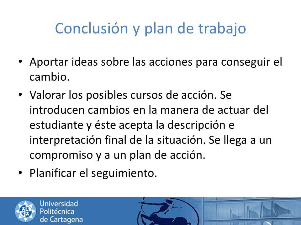 Conclusión y plan de trabajo Aportar ideas sobre las acciones para conseguir el cambio. Valorar los posibles cursos de acción. Se introducen cambios e