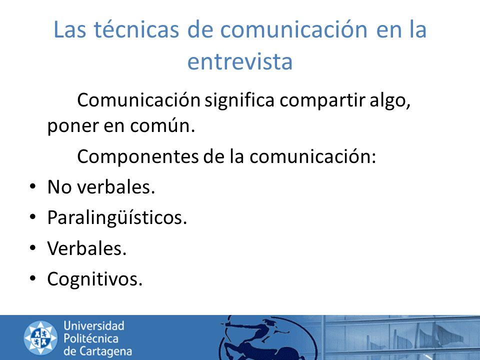Las técnicas de comunicación en la entrevista Comunicación significa compartir algo, poner en común. Componentes de la comunicación: No verbales. Para