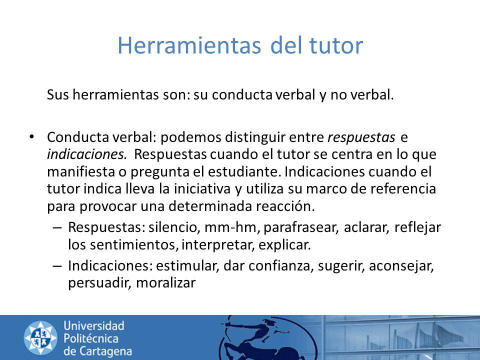 Herramientas del tutor Sus herramientas son: su conducta verbal y no verbal. Conducta verbal: podemos distinguir entre respuestas e indicaciones. Resp