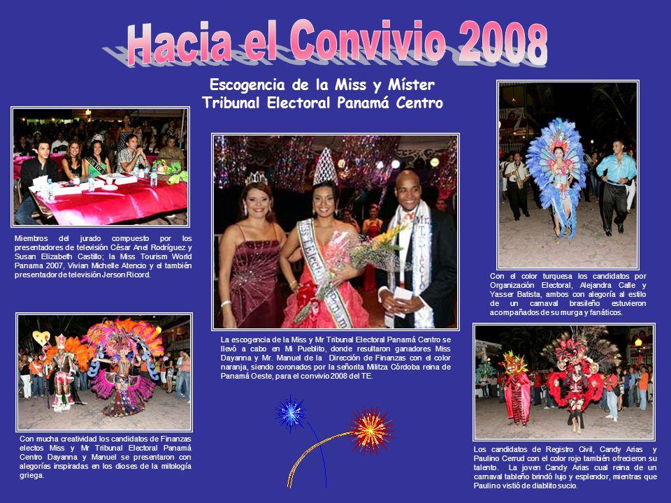 Escogencia de la Miss y Míster Tribunal Electoral Panamá Centro Los candidatos de Registro Civil, Candy Arias y Paulino Cerrud con el color rojo tambi