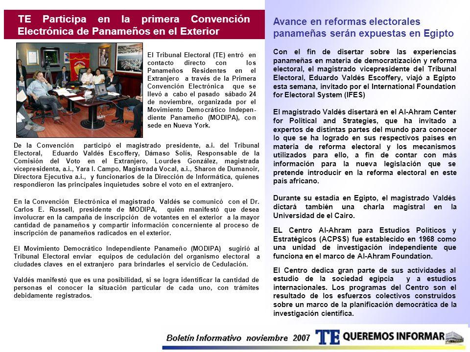 TE Participa en la primera Convención Electrónica de Panameños en el Exterior El Tribunal Electoral (TE) entró en contacto directo con los Panameños R