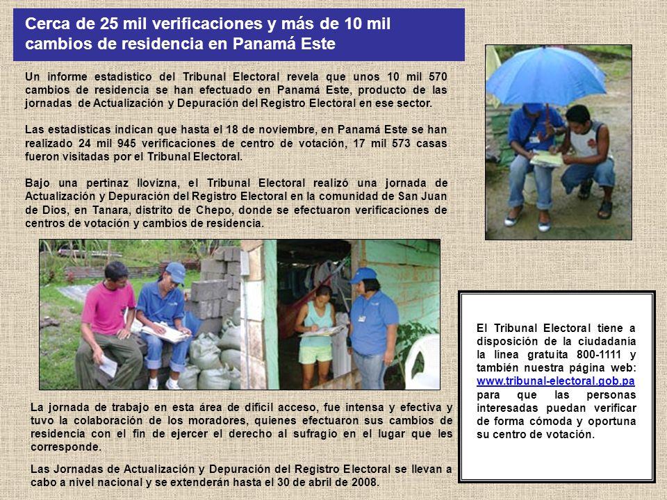El Tribunal Electoral llevó a cabo recientemente una gira a áreas de difícil acceso en los distritos de Chimán y Chepo, así como a la comunidad wounaán de Majé, con el fin de realizar inscripciones tardías de nacimientos mediante pruebas supletorias, cedulación y establecer centros de votación.