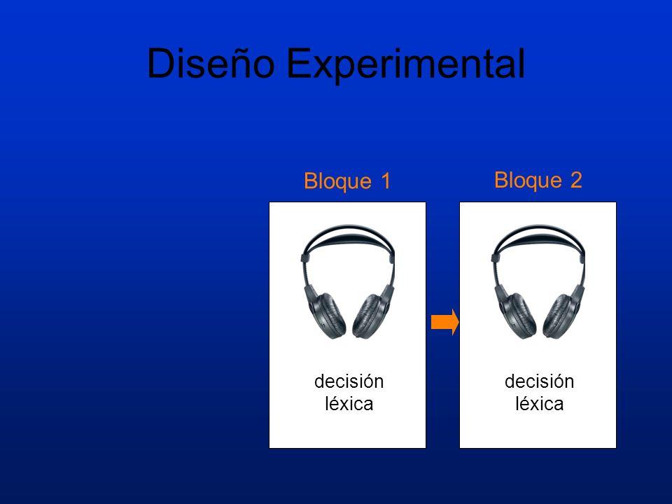 Diseño Experimental Bloque 1 Bloque 2 decisión léxica