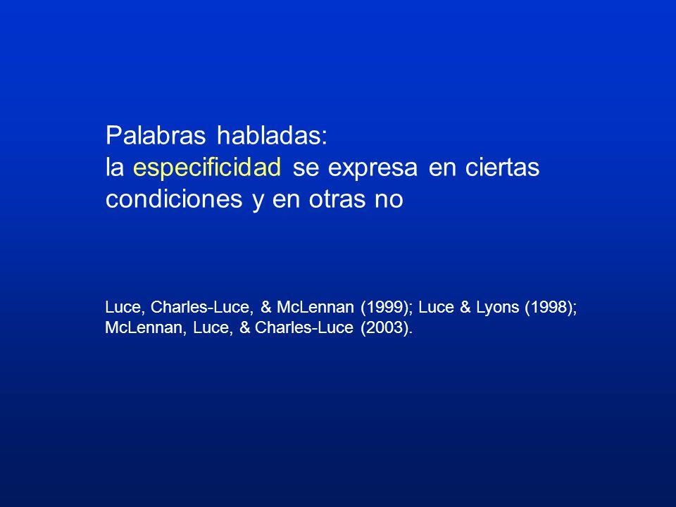 Palabras habladas: la especificidad se expresa en ciertas condiciones y en otras no Luce, Charles-Luce, & McLennan (1999); Luce & Lyons (1998); McLenn