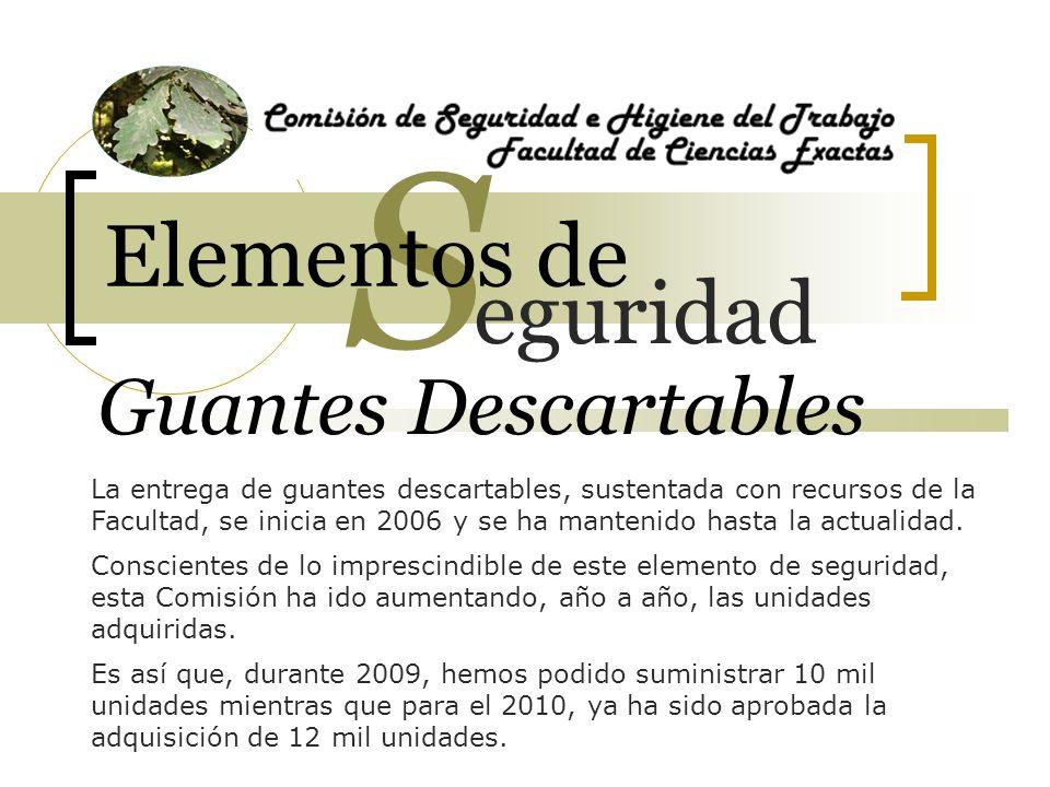 Guantes Descartables La entrega de guantes descartables, sustentada con recursos de la Facultad, se inicia en 2006 y se ha mantenido hasta la actualid