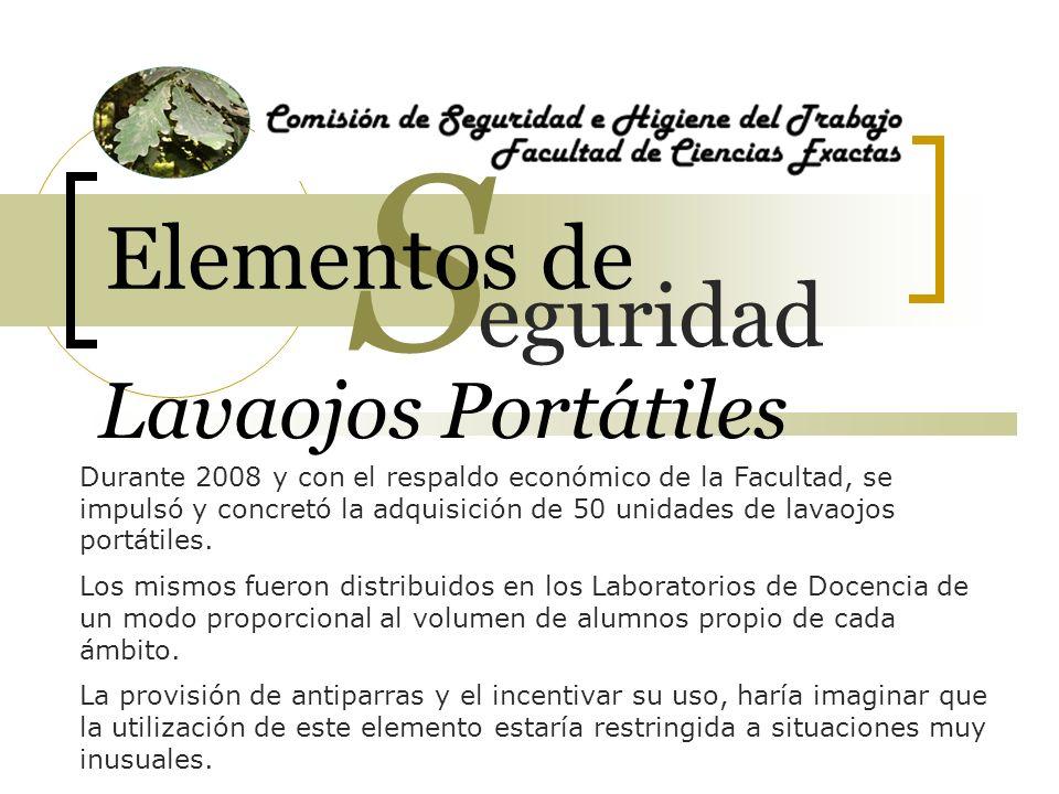 Lavaojos Portátiles Durante 2008 y con el respaldo económico de la Facultad, se impulsó y concretó la adquisición de 50 unidades de lavaojos portátile