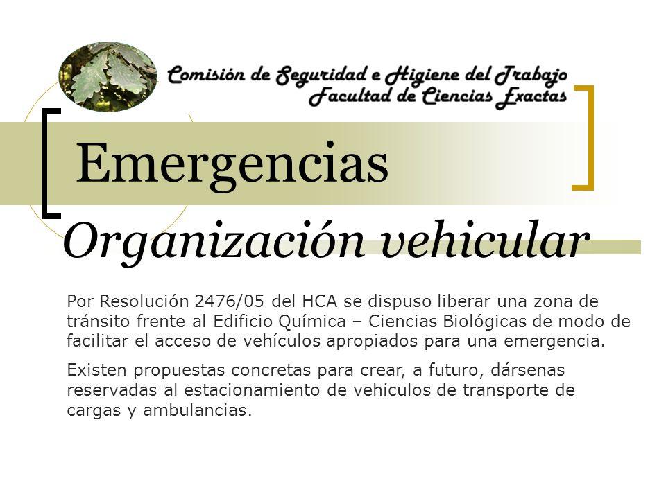 Organización vehicular Por Resolución 2476/05 del HCA se dispuso liberar una zona de tránsito frente al Edificio Química – Ciencias Biológicas de modo
