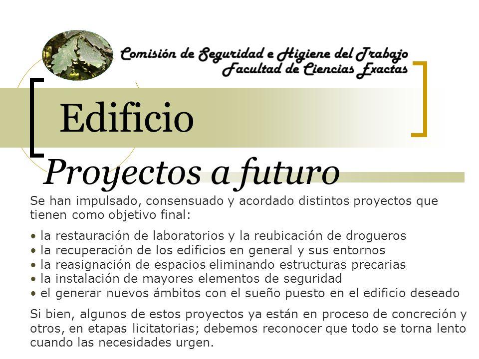 Se han impulsado, consensuado y acordado distintos proyectos que tienen como objetivo final: la restauración de laboratorios y la reubicación de drogu