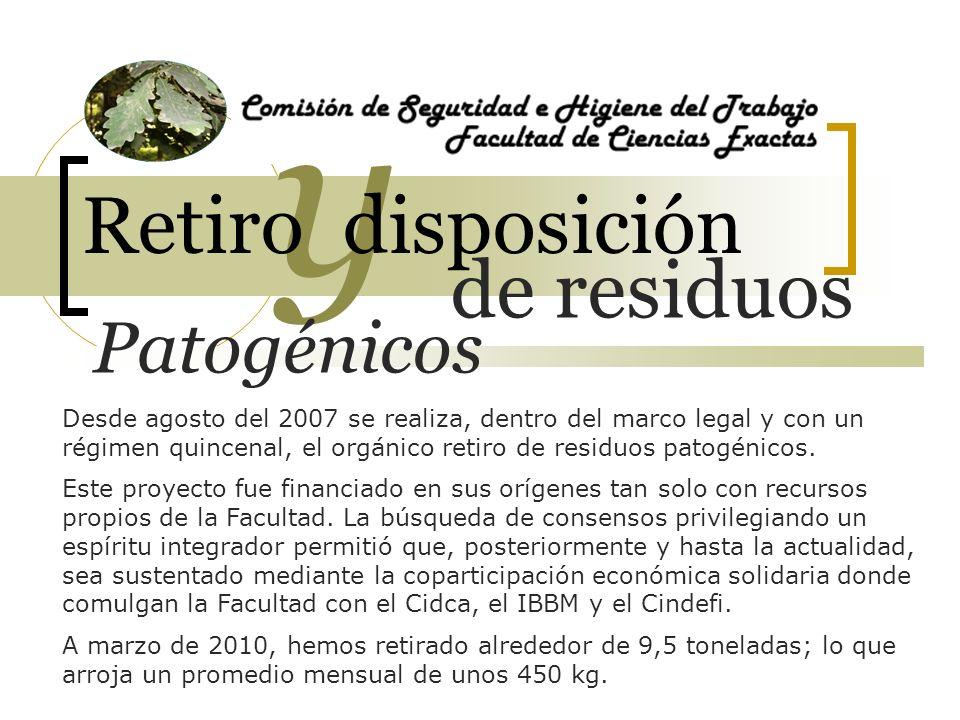 de residuos y Retiro disposición Patogénicos A inicios de 2010 se gestionó frente al Ministerio de Salud la inscripción de la Facultad como Generador de Residuos Patogénicos tal como fija la legislación vigente.
