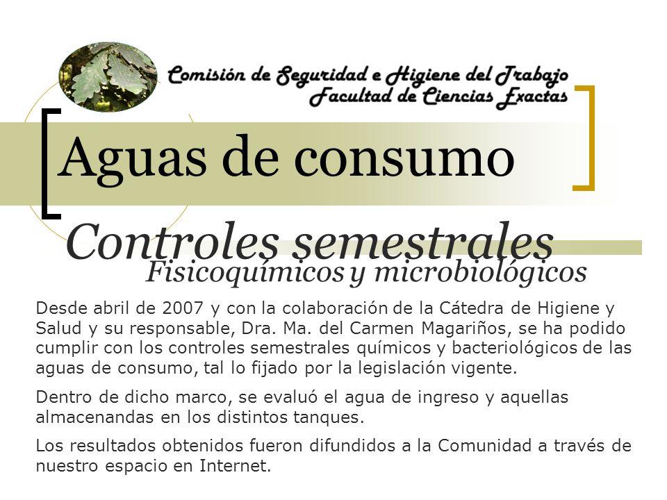 Aguas de consumo Desde abril de 2007 y con la colaboración de la Cátedra de Higiene y Salud y su responsable, Dra. Ma. del Carmen Magariños, se ha pod