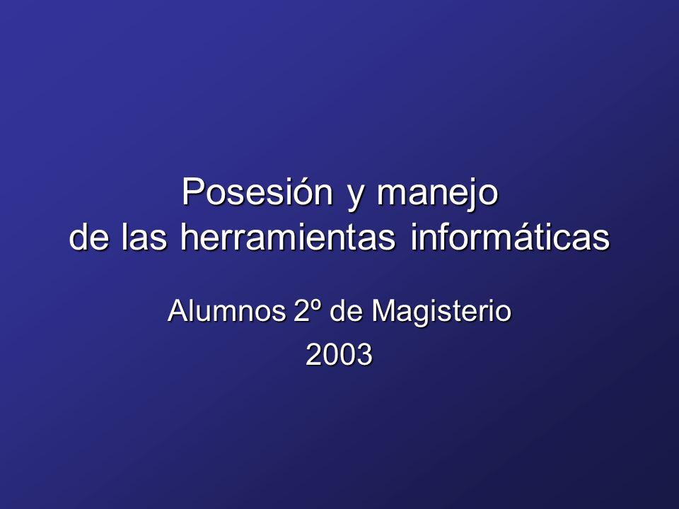 Posesión y manejo de las herramientas informáticas Alumnos 2º de Magisterio 2003