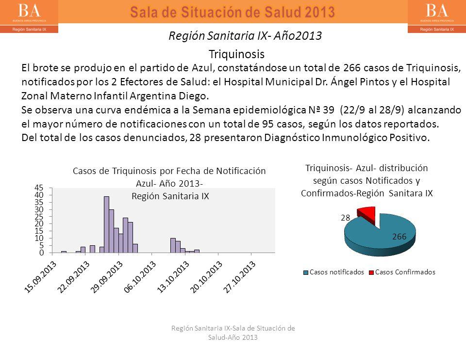 El brote se produjo en el partido de Azul, constatándose un total de 266 casos de Triquinosis, notificados por los 2 Efectores de Salud: el Hospital M