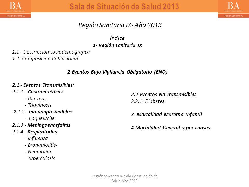 Región Sanitaria IX- Año 2013 Índice 1- Región sanitaria IX 1.1- Descripción sociodemográfica 1.2- Composición Poblacional 2-Eventos Bajo Vigilancia O