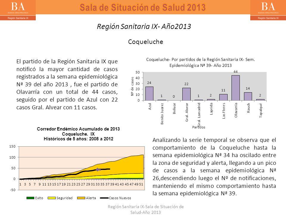 El partido de la Región Sanitaria IX que notificó la mayor cantidad de casos registrados a la semana epidemiológica Nª 39 del año 2013, fue el partido