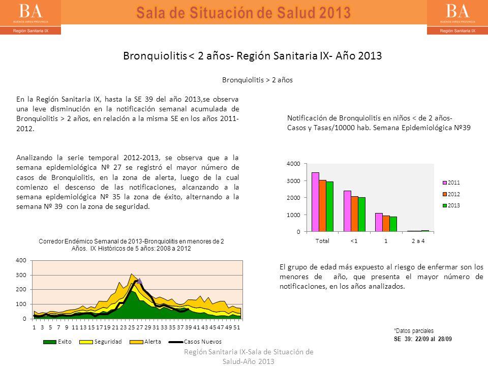 Bronquiolitis < 2 años- Región Sanitaria IX- Año 2013 Notificación de Bronquiolitis en niños < de 2 años- Casos y Tasas/10000 hab. Semana Epidemiológi