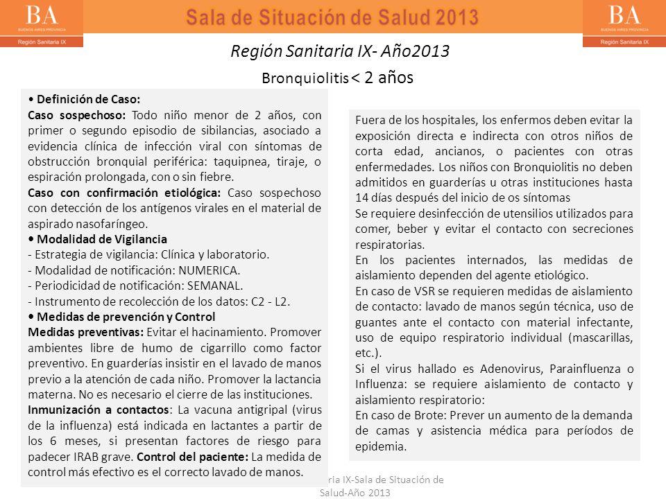 Región Sanitaria IX- Año2013 Bronquiolitis < 2 años Definición de Caso: Caso sospechoso: Todo niño menor de 2 años, con primer o segundo episodio de s