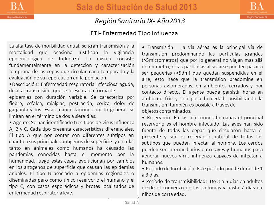 ETI- Enfermedad Tipo Influenza Región Sanitaria IX-Sala de Situación de Salud-Año 2013 La alta tasa de morbilidad anual, su gran transmisión y la mort