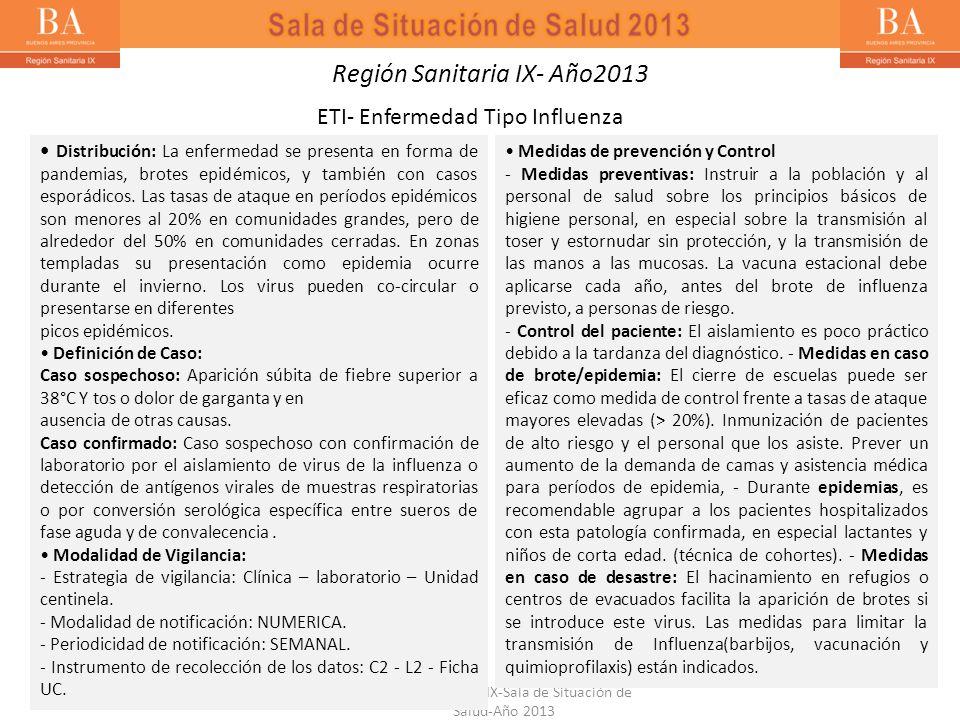 Región Sanitaria IX-Sala de Situación de Salud-Año 2013 Distribución: La enfermedad se presenta en forma de pandemias, brotes epidémicos, y también co