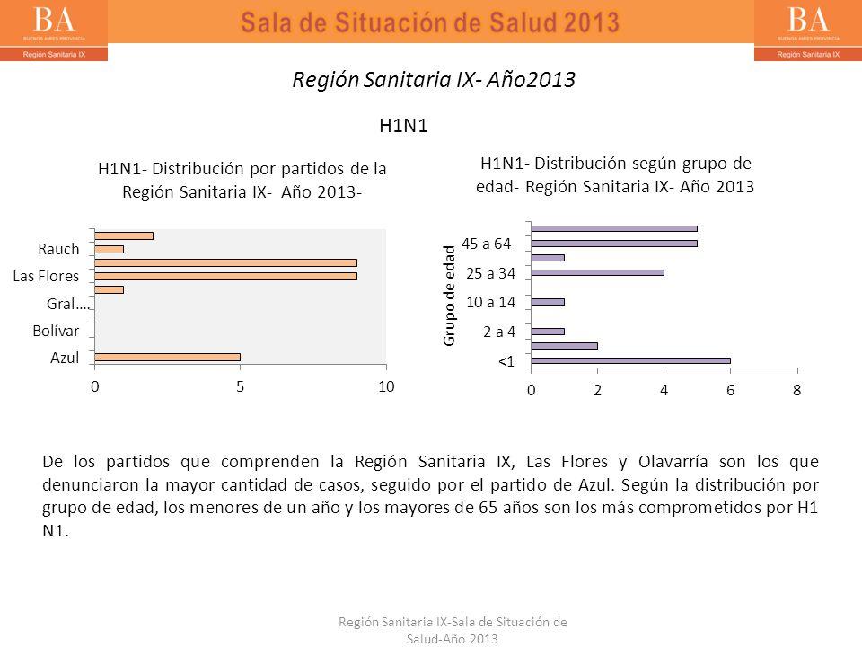 Región Sanitaria IX-Sala de Situación de Salud-Año 2013 Región Sanitaria IX- Año2013 H1N1 De los partidos que comprenden la Región Sanitaria IX, Las F