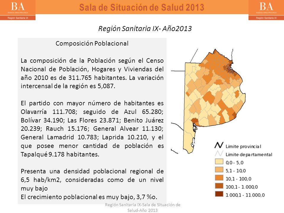 Región Sanitaria IX- Año2013 Composición Poblacional La composición de la Población según el Censo Nacional de Población, Hogares y Viviendas del año