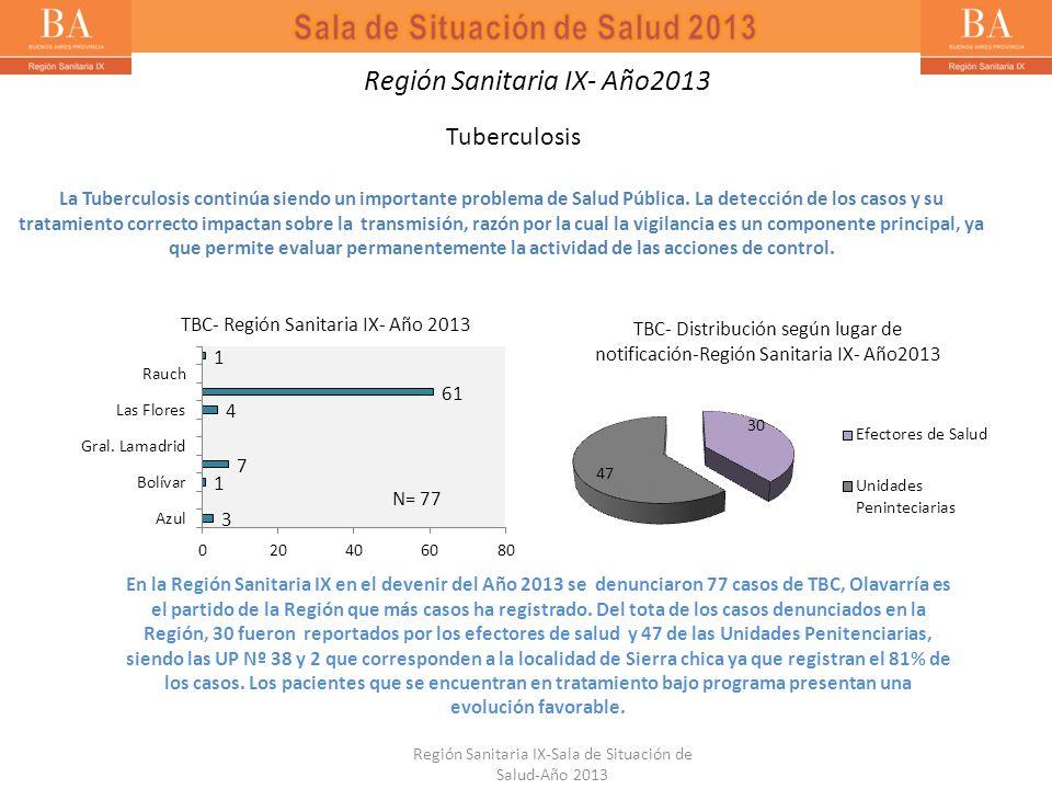 Región Sanitaria IX- Año2013 Tuberculosis La Tuberculosis continúa siendo un importante problema de Salud Pública. La detección de los casos y su trat