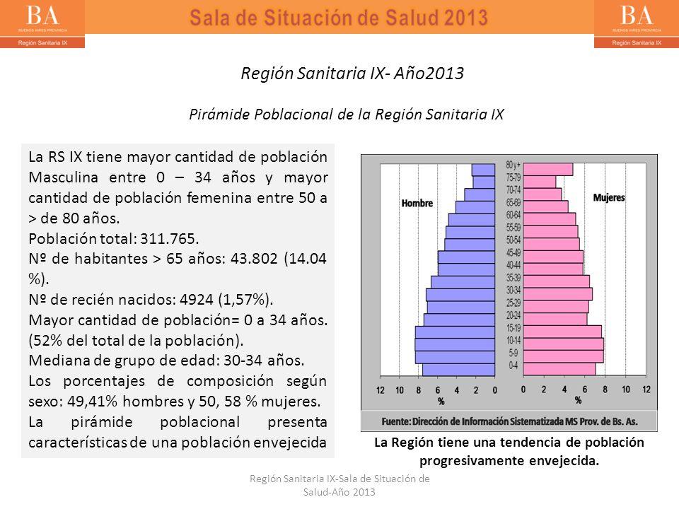 La RS IX tiene mayor cantidad de población Masculina entre 0 – 34 años y mayor cantidad de población femenina entre 50 a > de 80 años. Población total