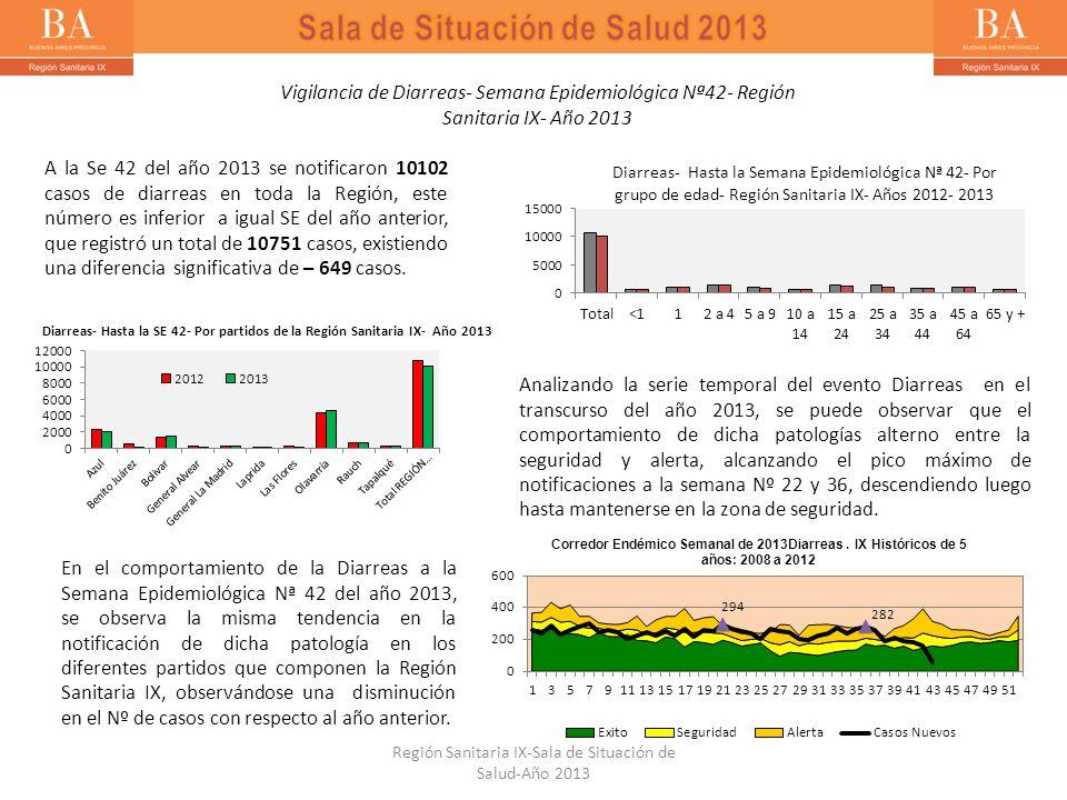 Vigilancia de Diarreas- Semana Epidemiológica Nª42- Región Sanitaria IX- Año 2013 A la Se 42 del año 2013 se notificaron 10102 casos de diarreas en to