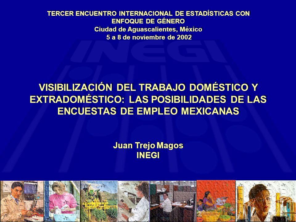 VISIBILIZACIÓN DEL TRABAJO DOMÉSTICO Y EXTRADOMÉSTICO: LAS POSIBILIDADES DE LAS ENCUESTAS DE EMPLEO MEXICANAS Juan Trejo Magos INEGI VISIBILIZACIÓN DEL TRABAJO DOMÉSTICO Y EXTRADOMÉSTICO: LAS POSIBILIDADES DE LAS ENCUESTAS DE EMPLEO MEXICANAS Juan Trejo Magos INEGI TERCER ENCUENTRO INTERNACIONAL DE ESTADÍSTICAS CON ENFOQUE DE GÉNERO Ciudad de Aguascalientes, México 5 a 8 de noviembre de 2002 TERCER ENCUENTRO INTERNACIONAL DE ESTADÍSTICAS CON ENFOQUE DE GÉNERO Ciudad de Aguascalientes, México 5 a 8 de noviembre de 2002
