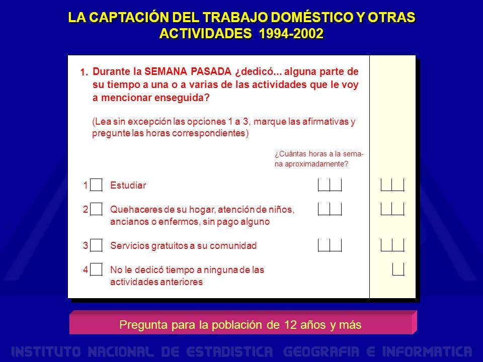 LA CAPTACIÓN DEL TRABAJO DOMÉSTICO Y OTRAS ACTIVIDADES 1994-2002 1.