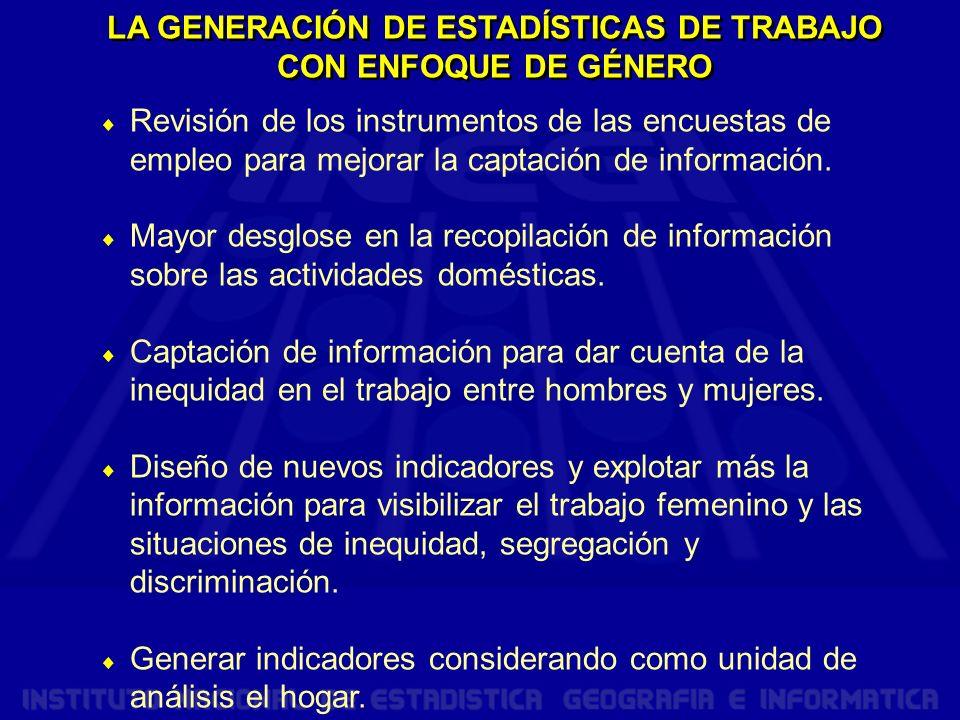 LA GENERACIÓN DE ESTADÍSTICAS DE TRABAJO CON ENFOQUE DE GÉNERO Revisión de los instrumentos de las encuestas de empleo para mejorar la captación de información.