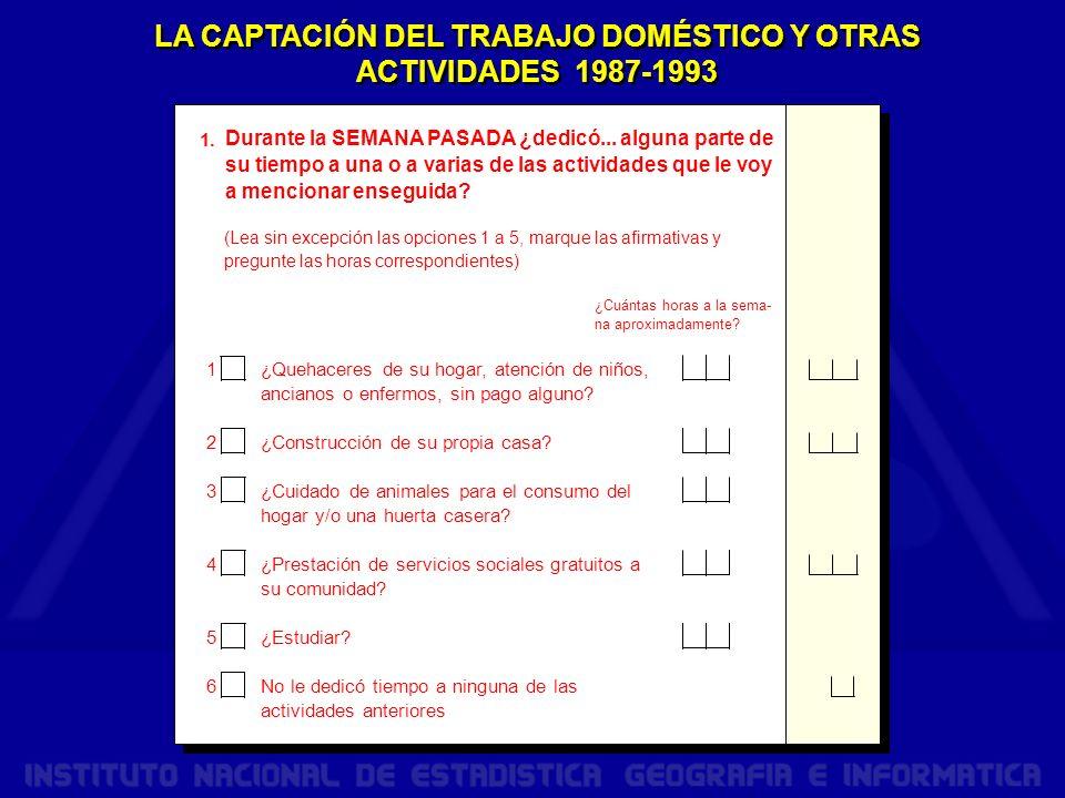 LA CAPTACIÓN DEL TRABAJO DOMÉSTICO Y OTRAS ACTIVIDADES 1987-1993 1.