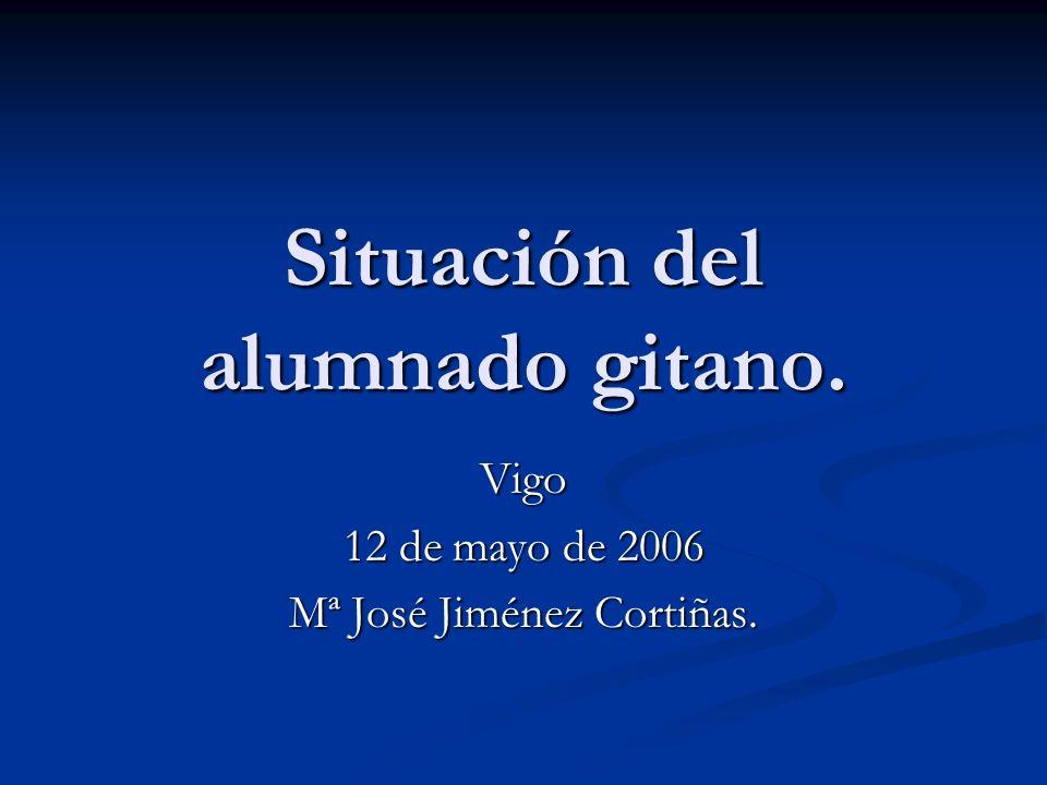 Situación del alumnado gitano. Vigo 12 de mayo de 2006 Mª José Jiménez Cortiñas.